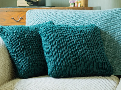 Verwood Cushions Knitting Pattern by Wyndlestraw Designs - www.wyndlestrawdesigns.com